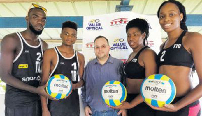 From left to right: T&T Men's volleyballers Daneil Williams and Daynte Stewart; Danny Jones, Value Optical Marketing & PR Manager; and T&T women's volleyballers Rheeza Grant and Abby Blackman at the launch of the TTVF partnership with Value Optical.
