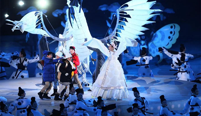 Dancers perform the 'Land of Peace' segment during the Opening Ceremony of the PyeongChang 2018 Winter Olympic Games