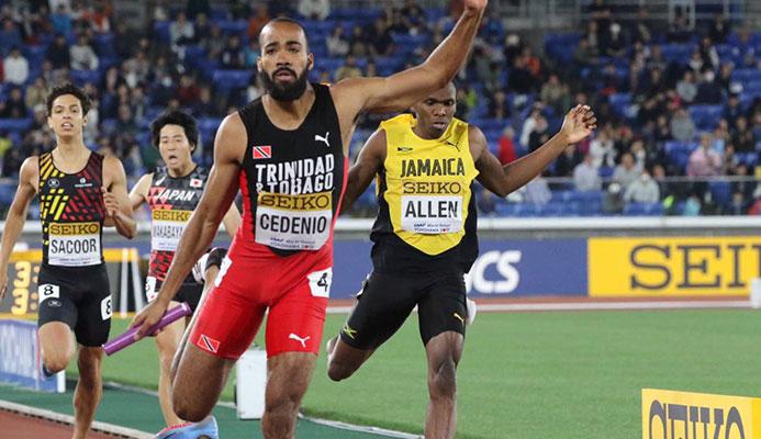 IT'S OVER: Machel Cedenio crosses the finish line to anchor TT to the 4x400m gold at the IAAF World Relays in Yokohama, Japan.