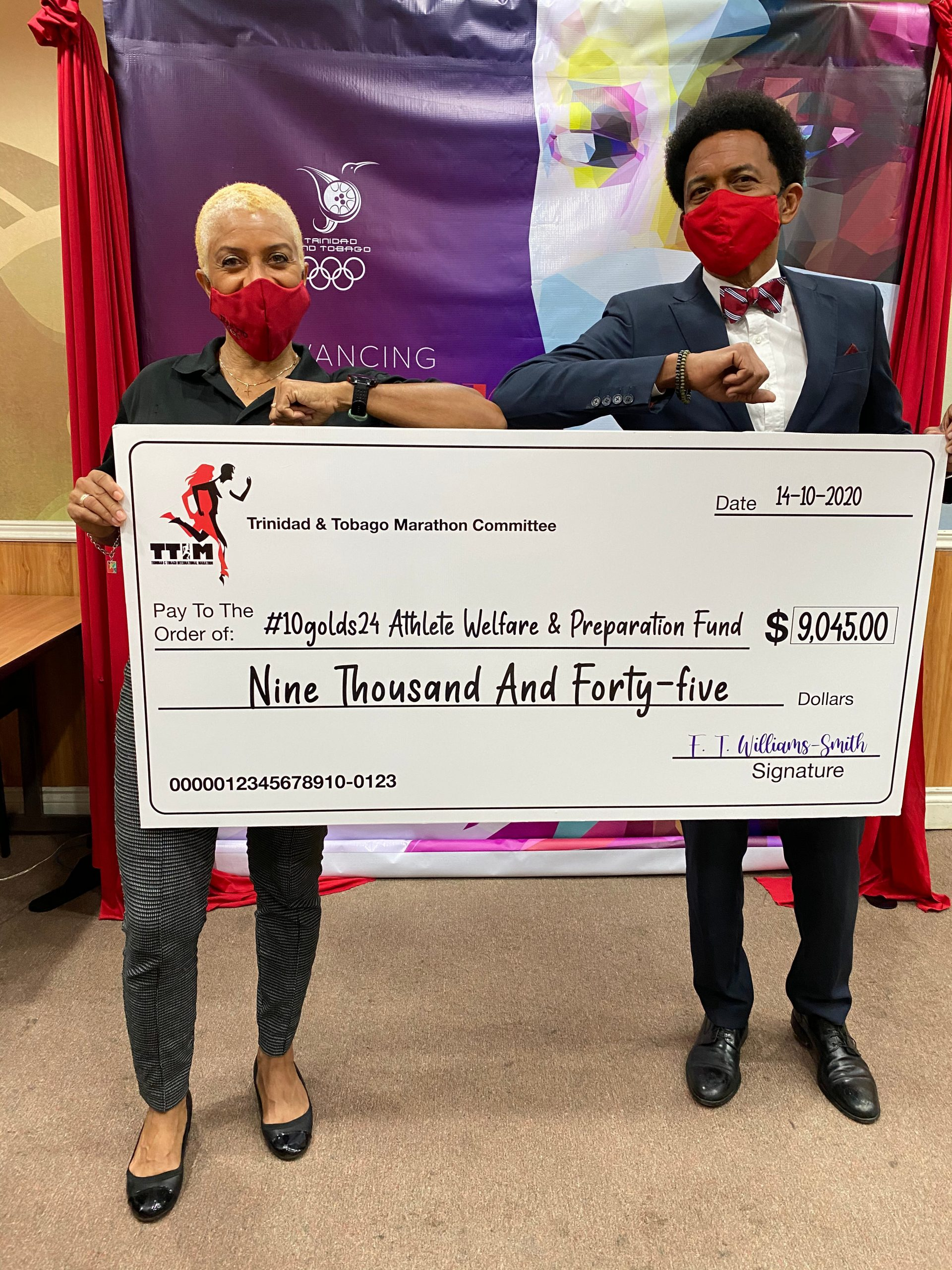The Trinidad and Tobago Marathon Committee (TTMC) is pleased to close on our charitable obligations in presenting a cheque for $9,045.00 to Mr. Brian Lewis, President of the Trinidad and Tobago Olympic Committee (TTOC) for the #10Golds24 Athlete Welfare & Preparation Fund representing proceeds from the 2020 event