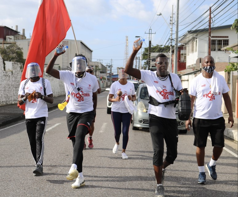 TeamTTO Marathon Walkers on Colville Street heading to Queen's Park Savannah. Photo: Melanie Gulston/Team TTO Media
