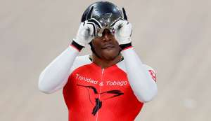 DOUBLE GOLD MEDALLIST! Nicholas Paul of T&T celebrates beating compatriot Phillip Njisanel, also of T&T, to win the gold medal in the track cycling men's sprint final at the Pan American Games in Lima, Peru on August 3. (AP)