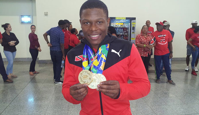 Nicholas Paul after winning three gold medals at the 2018 Central American and Caribbean Games. Paul broke Njisane Phillip's Pan American Games record, today.